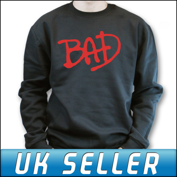 sweater black black sweater michael jackson bad red uk seller