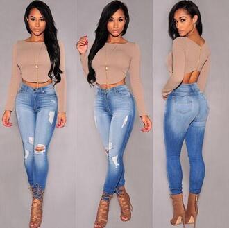 jeans heels t-shirt shirt