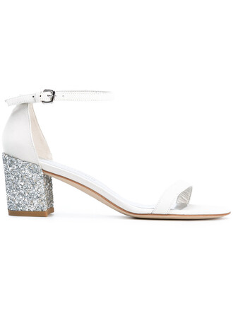 heel glitter women sandals leather white shoes