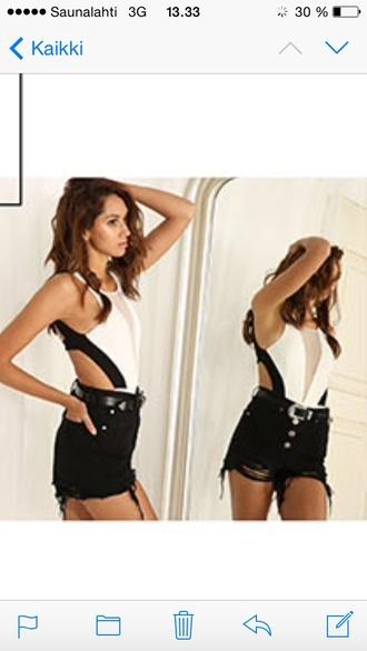 jumpsuit mesh mesh bodysuit white top black top cutout top