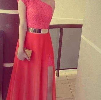 dress coral dress coral pretty shoes pink pink dress gold half long perfect skirt pink skirt long skirt slit dress formal evening dress red prom dress red long prom dress lace dress metal gold waist belt maxi dress gold belt