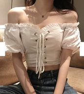 blouse,girly,girl,girly wishlist,crop tops,cropped,crop,white,white top,white crop tops,off the shoulder,lace up