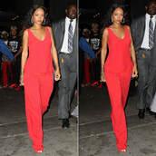 top,pants,red,rihanna,fashion week 2014