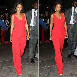 top pants red rihanna fashion week 2014