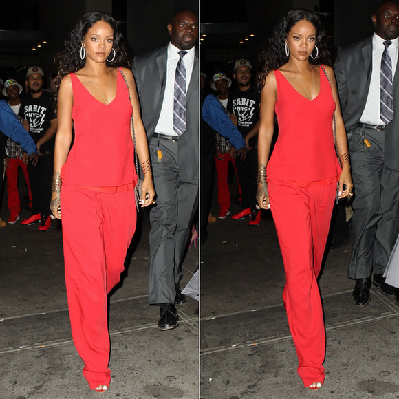 rihanna fashion week 2014 top pants red
