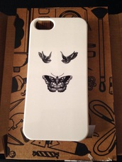phone cover,white i phone 5s case,birds,butterfly