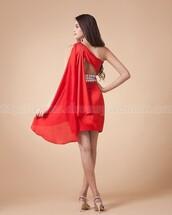 party dress,red dress,cocktail dress,short dress,prom dress,short prom dress,bridesmaid,one shoulder dresses,chiffon dress