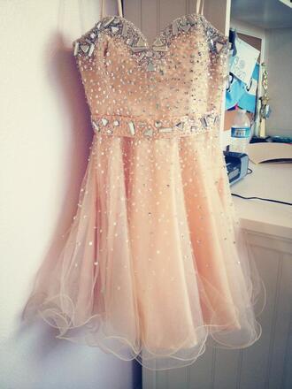 dress peach rhinestones