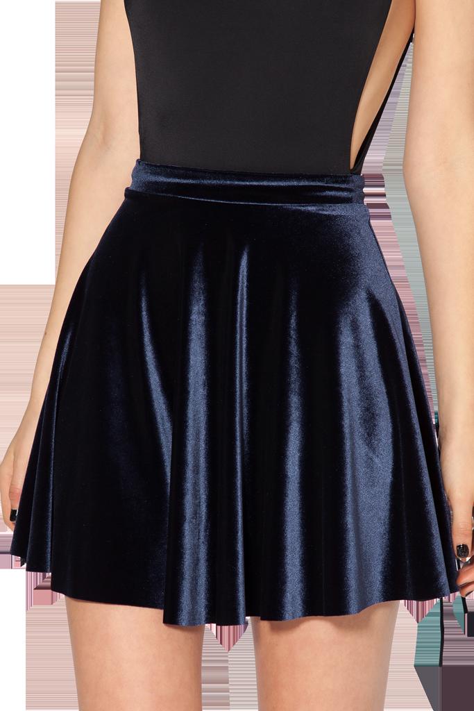 Velvet deep blue skater skirt