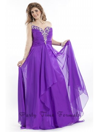 Purple one shoulder jeweled gown