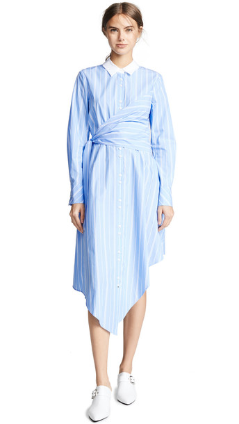 Jonathan Simkhai Long Sleeve Oxford Wrap Dress in blue / white