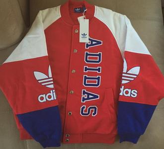jacket adidas bomber jacket coat sportswear sporty red white blue retro logo adidas originals adidas superstars adidas jacket adidas bomber jacket varsity jacket adidas varsity jacket