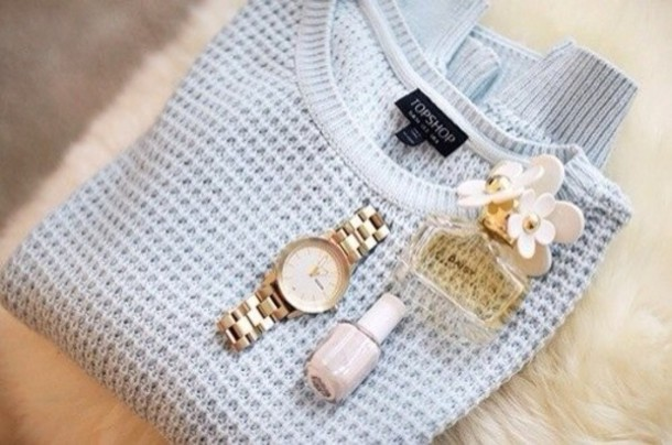 jewels baby blue sweater