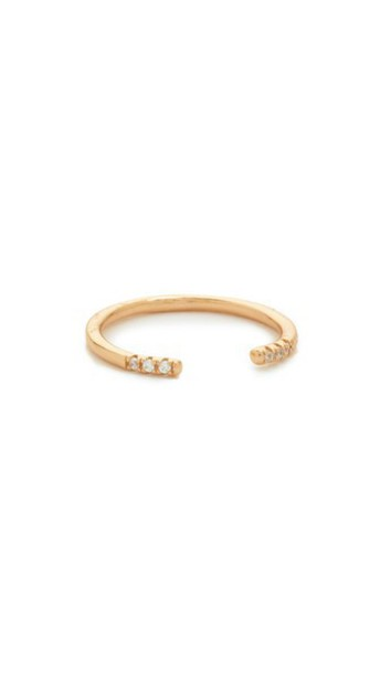 SHASHI rose gold rose clear ring gold jewels