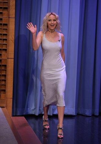 jewels choker necklace sandals sandal heels silver midi dress jennifer lawrence shoes black choker jewelry necklace celebrity style celebrity