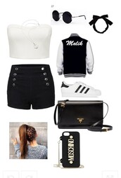 shorts,polyvore fashion,cardigan,coat,bag,jacket,romper,shoes,phone cover,polyvore,sweater,top,sunglasses,moschino,black and white,round sunglasses,white crop tops,prada,adidas superstars,black shorts,shirt
