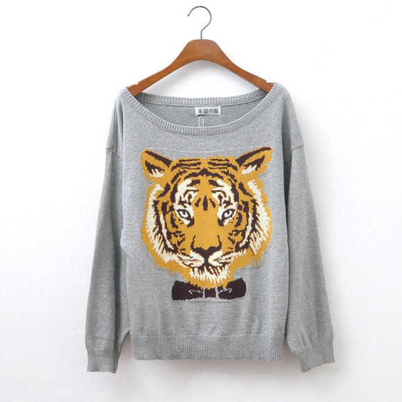 sweater cool cotton fashion cardigan sleeve tiger head 100% cotton