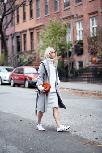the fashion guitar blogger converse grey coat winter coat turtleneck grey skirt gucci winter outfits coat sweater skirt bag jewels white oversized sweater hooded winter coat grey oversized coat