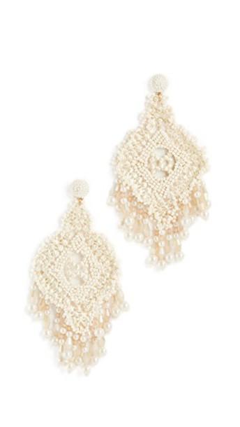 Kate Spade New York statement earrings statement earrings lace white jewels