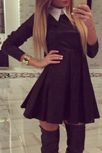 dress cute black skater girly teenagers over the knee casual fashion style skater dress fall dress collared dress long sleeve dress black dress