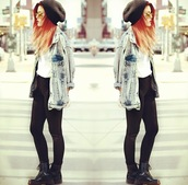 jacket,or can we find it?,denim,denim jacket,hat,acid wash,oversized,jeans,jacket coat winter cold blue fur,luanna perez,red hair,red underwear,cool girl style,yolo,swag,girly,cool shirts,jewels,sunglasses,ring,nail polish,shoes,blouse,outfit,accessories,clothes,black,cute,beanie,boots,helpplease.,pants,coat,long