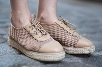 shoes hollow flat lacing casual khaki apricot fashion