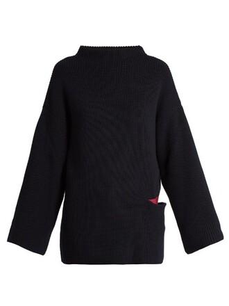 sweater oversized silk wool navy