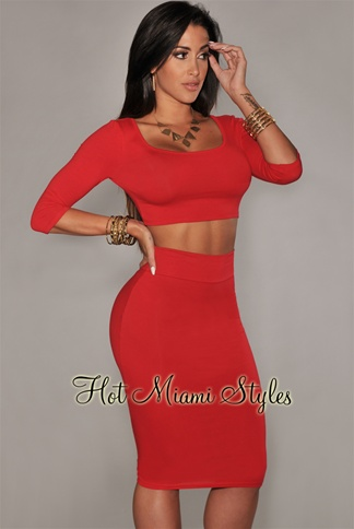 Red 3/4 Sleeves Two Piece Set