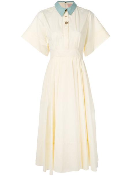 Roksanda dress flare dress flare women fit nude cotton