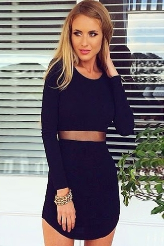 dress fashion style long sleeves black trendy solid color voile splicing long sleeve dress sexy
