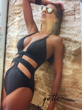 swimwear black one piece swimsuit
