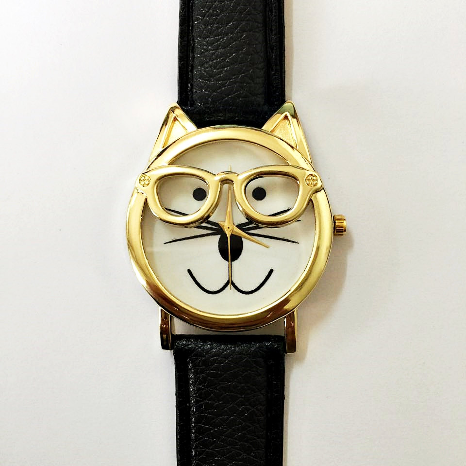 wearing cat bands unique link i color women watches glasses watch cute teens accessories