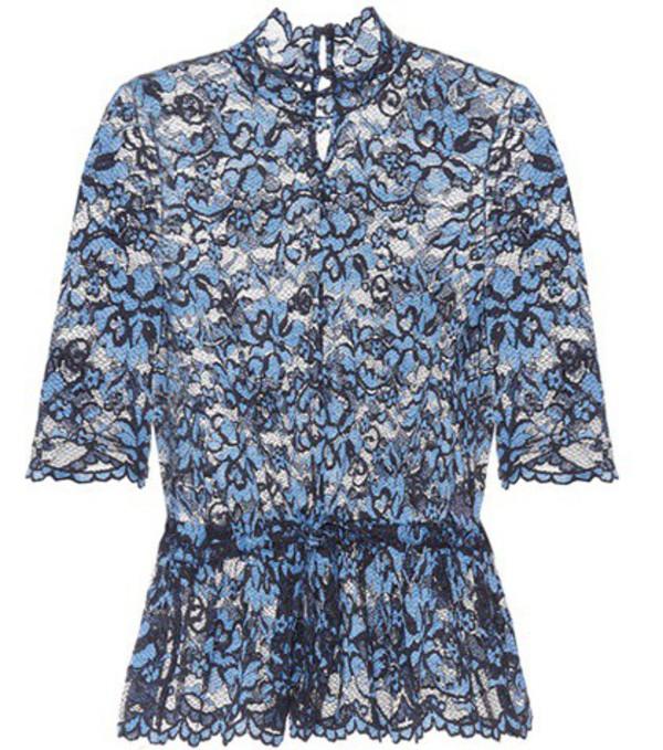 Ganni Flynn lace top in blue