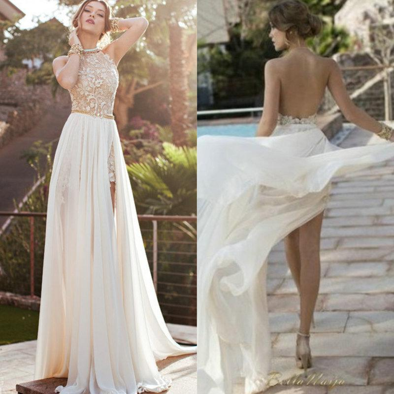 Romantic High Neck Lace Beaded Chiffon High Low White Prom Dress ...