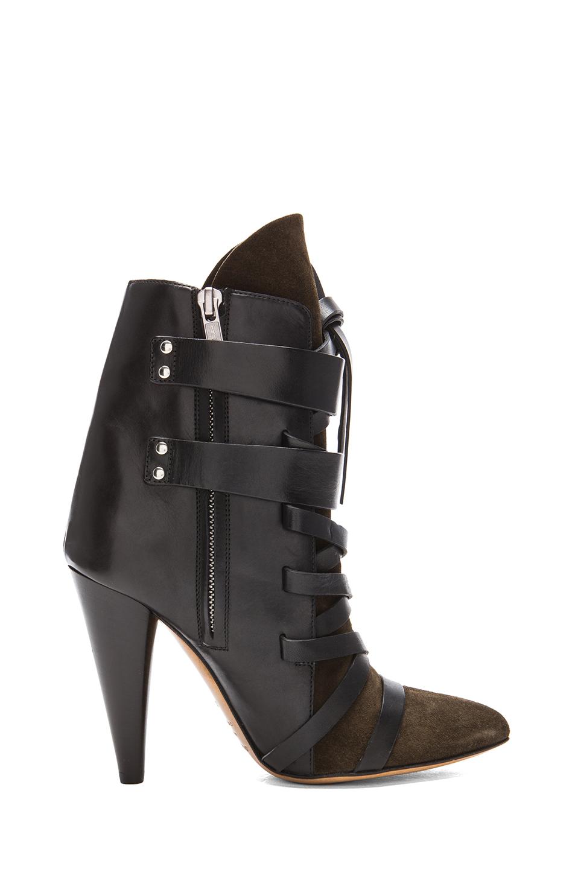 Royston suede buckle boots in bronze
