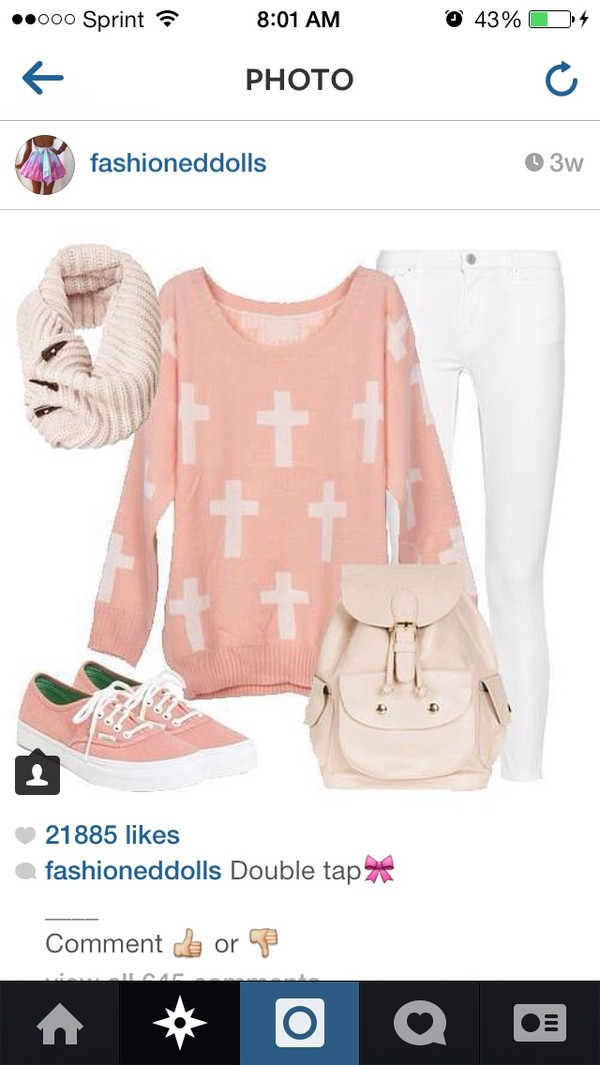 shirt pink cross pants white shoes bag sweater