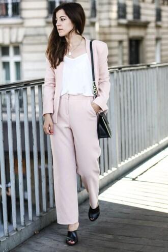 elodie in paris blogger top shoes bag pink pants white top pink blouse blazer black bag black heels streetstyle asos carven cami top black shoulder bag