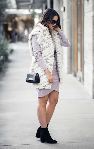 live more beautifully blogger jacket dress shoes jewels sunglasses make-up fall outfits vest ankle boots purple dress