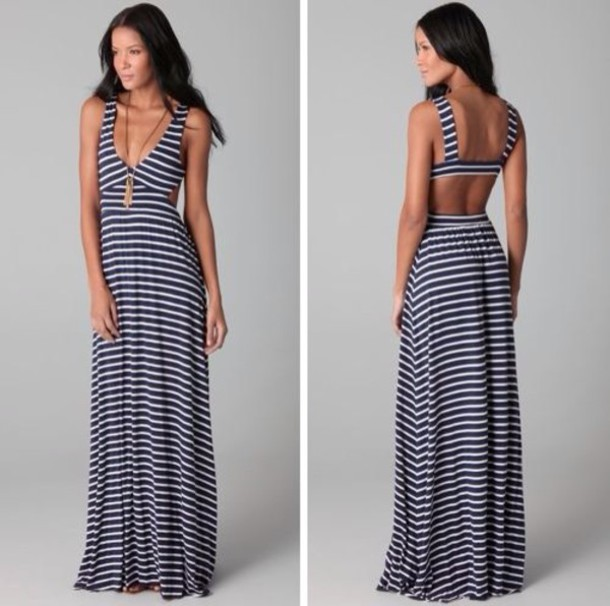 dress maxi backless striped dress