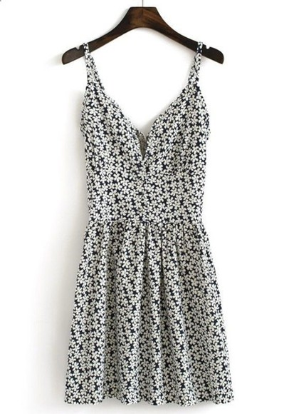 deep v neck dress summer summer dress daisy dress