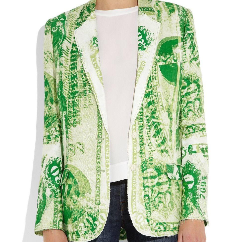 Acne Jinx Currency Jacket – Dollar Print Blazer Green – Blogger Favourite | eBay