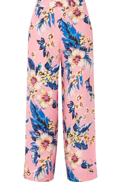 pants wide-leg pants baby floral print pink baby pink