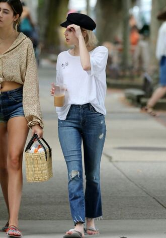 jeans top slide shoes emma roberts streetstyle