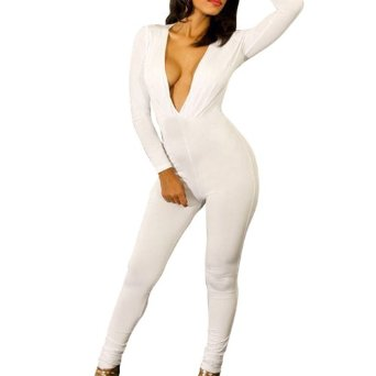 Amazon.com: Little Hand Women's One-Pieces Deep V-Neck Fitted Clubwear Jumpsuit: Clothing