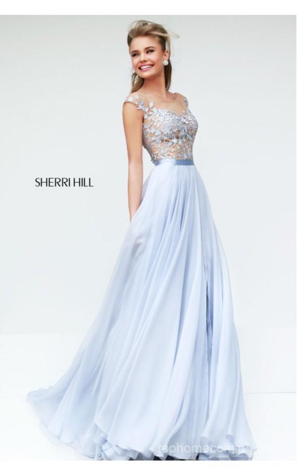homecoming dress dress sherri hill light blue blue beautiful blue dress flowers pretty prom dress flowy dress flowy prom gown