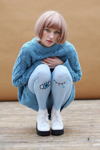 tights blue eyes eyeballs blink eye tights pale