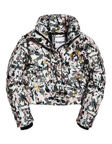 Superdry Women's Jacquard Puffer Jacket - Grey Camouflage - Size M
