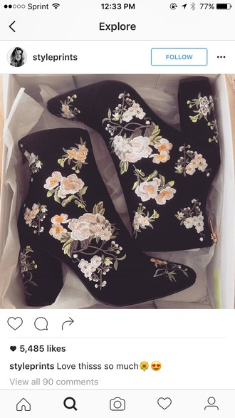 shoes ankle boots floral shoes embroidered boots