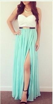 dress,green#white#dress,blouse,shoes,black heels,peep toe pumps,high heel pumps