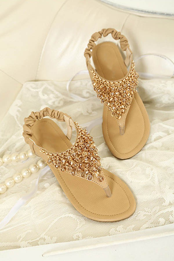 Apricot Faux Leather Beaded Thong Sandals